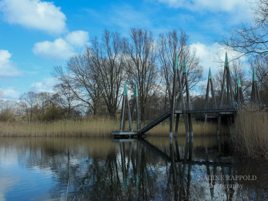 Britzer Garten in Berlin, Brücke im Wasser