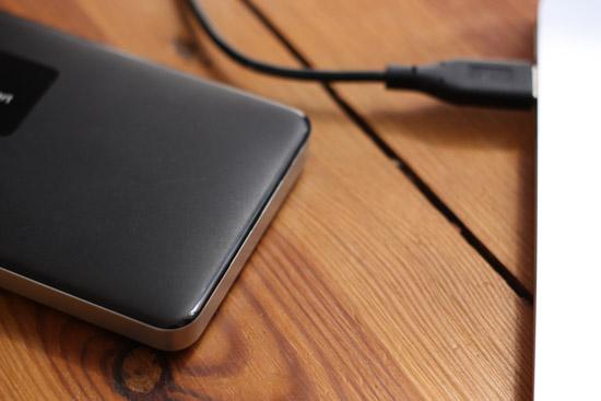 Externe Festplatte (HDD) verbunden mit Laptop